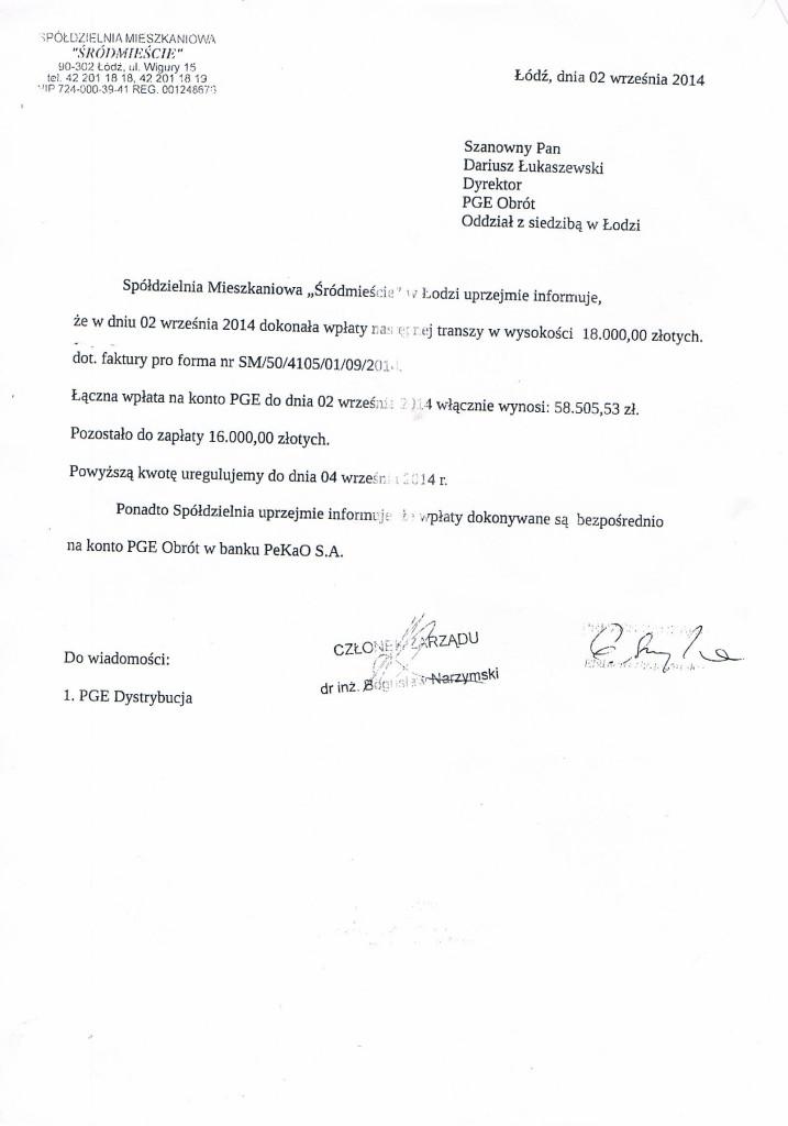 Pismo SM Ś do PGE Obrót z 02_09_2014