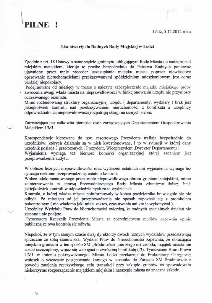 List otwarty do Radnych str_1 05_12_2012