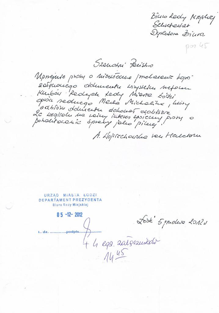 Pismo do Biura Rady Miejskiej 05_12_2012