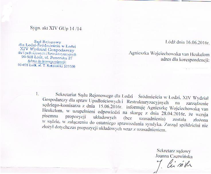 Pismo z sekretariatu sędzi komisarz 16_06_2016