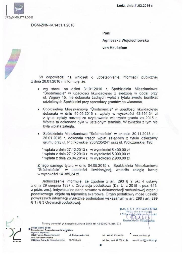wpłaty SM śródmieście do UMŁ  stan na luty 2016