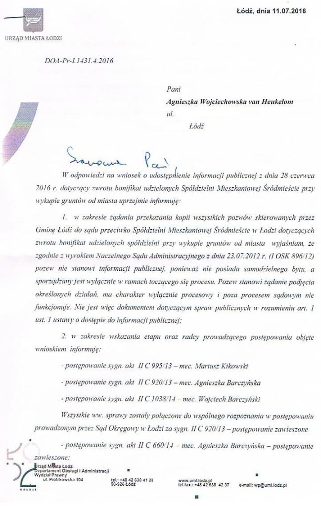 Odpowiedź biura prawnego UMŁ w sprawie pozwych zwrotu bonifikat 1