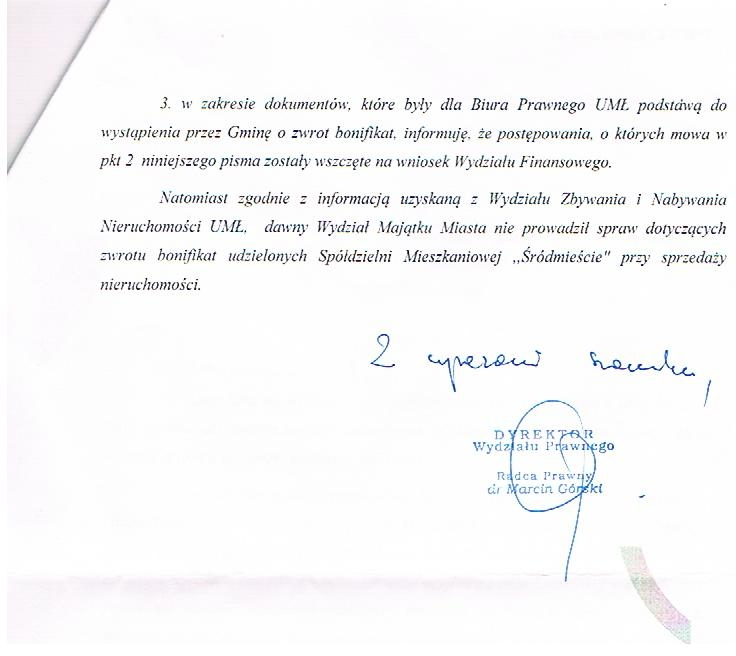 Odpowiedź biura prawnego UMŁ w sprawie pozwych zwrotu bonifikat 2