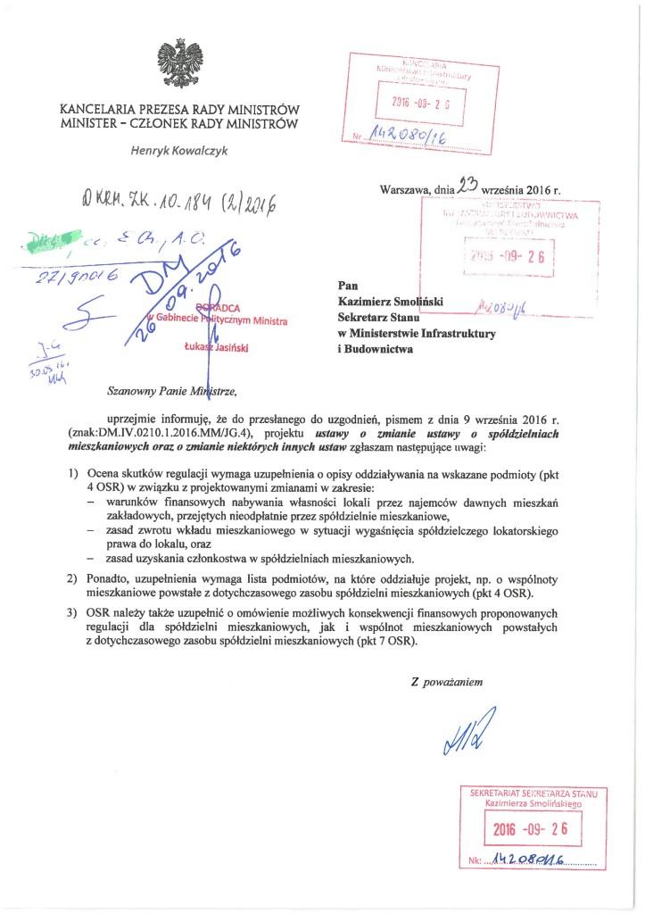 Opinia Kancelarii Rady Ministrów do projektu MBiI