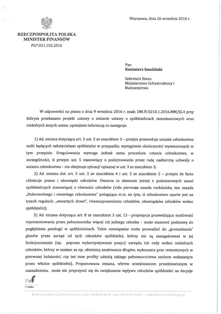 Opinia Ministerstwa Finansów do projektu MBiI 01