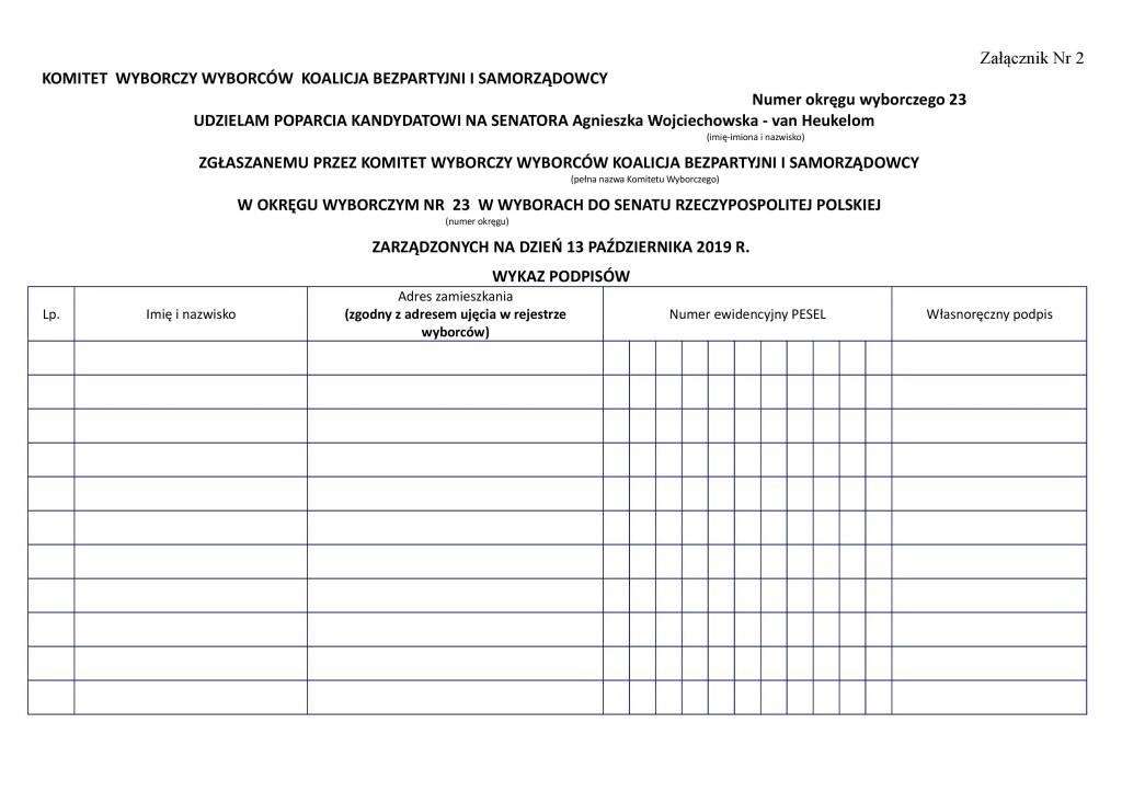 Zbiórka PODPISÓW na Kandydata _OKręg 23 Zalacznik_nr_2_-_Wykaz_podpisow_poparcia