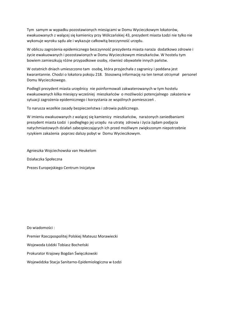 Narażanie życia mieszkańców poprzez zaniedbania prezydent miasta Łodzi-2
